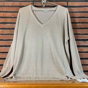 ☃️Liz Claiborne Tan/Gold Sweater SZ-L